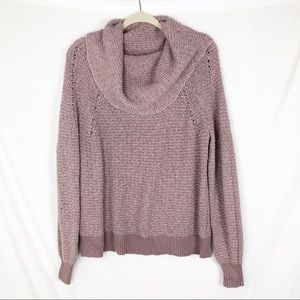 Free People By Your Side Mauve Cowl Neck Sweater